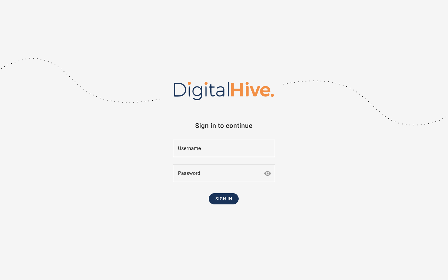 login screen for Digital Hive
